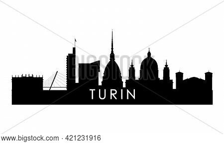 Turin Skyline Silhouette. Black Turin City Design Isolated On White Background.