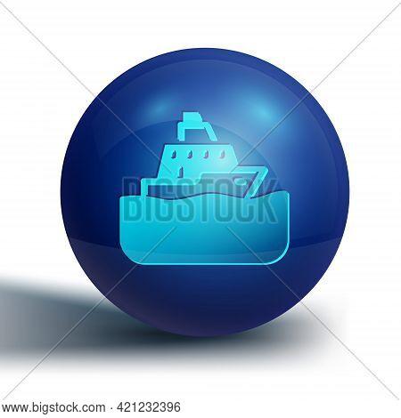 Blue Cruise Ship Icon Isolated On White Background. Travel Tourism Nautical Transport. Voyage Passen