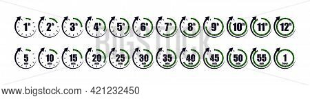 Hours Icon From 1 To 12. Timer Of Clock With Arrows. Circle Stopwatch For Fast Delivery. Ticking Of