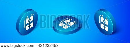 Isometric Aqualung Icon Isolated On Blue Background. Oxygen Tank For Diver. Diving Equipment. Extrem