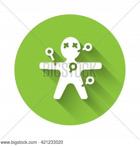White Voodoo Doll Icon Isolated With Long Shadow. Happy Halloween Party. Green Circle Button. Vector