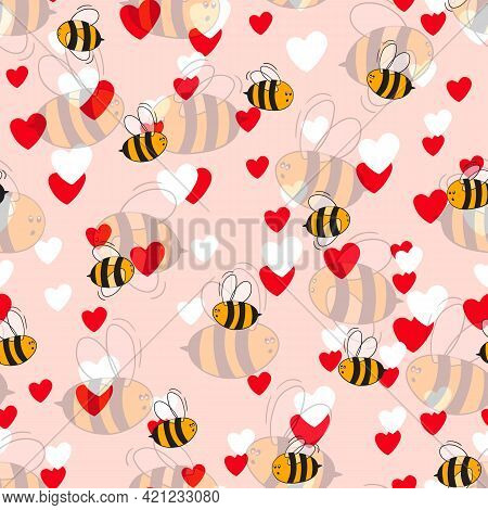 Seamless Pattern With Bees And Hearts On Color Background. Small Wasp. Vector Illustration. Adorable