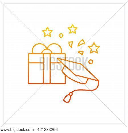 Graduation Gift Gradient Icon.gift On Graduation Occasion. Pleasant Presents. Special Surprise. Grad