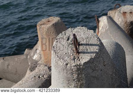 Rough Massive Concrete Blocks As A Parts Of A Port Breakwater