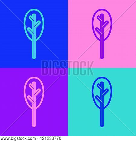 Pop Art Line Spinach Icon Isolated On Color Background. Vector