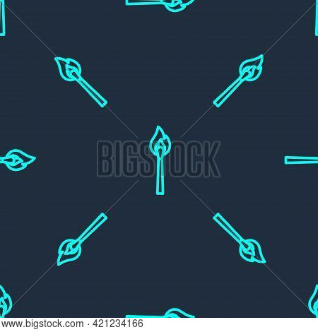 Green Line Burning Match With Fire Icon Isolated Seamless Pattern On Blue Background. Match With Fir