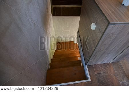 Minsk. Belarus - May 2016: View Of The Stairs From Top To Bottom, Wooden Stairs In A House. High Qua