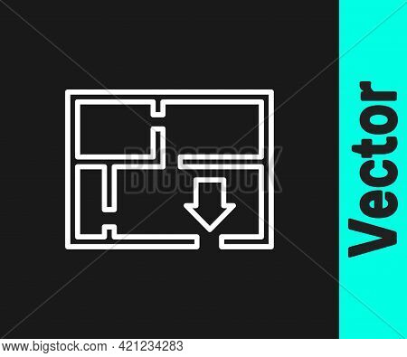 White Line Evacuation Plan Icon Isolated On Black Background. Fire Escape Plan. Vector