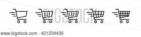 Shopping Cart Flat Vector Icon Set. Online Shopping Concept Icons. Online Store. Vector Graphic