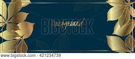 Luxury Golden Leaves Vector Wallpaper. Golden Chestnut Leaves And Green Emerald Background. Vector I