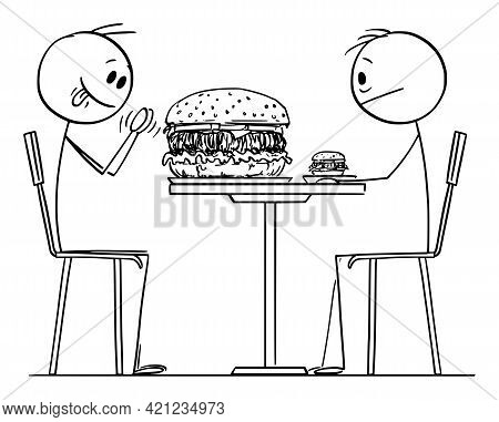 Person Enjoying Big Or Bigger Burger In Restaurant Or Fast Food, Vector Cartoon Stick Figure Illustr