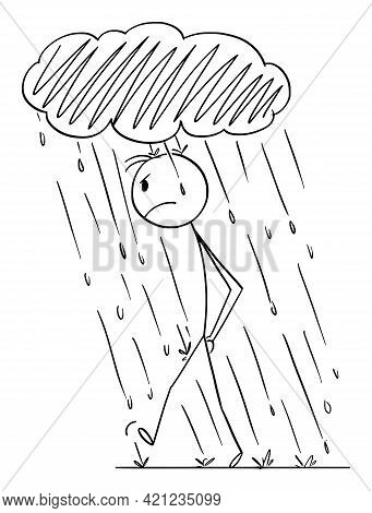Frustrated Angry Person Walking In Personal Rain With Small Storm Cloud Above Head , Vector Cartoon