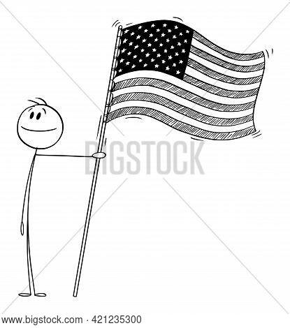 Proud Patriotic Person Holding Flag Of United States Of America, Vector Cartoon Stick Figure Illustr