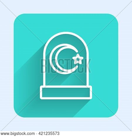 White Line Muslim Cemetery Icon Isolated With Long Shadow. Islamic Gravestone. Green Square Button.