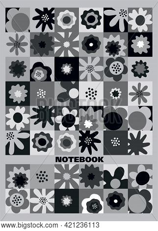 Composition Notebook, College Notebooks, Girl Boy School Notebook. Design Cover Book. Flowers.  Geom