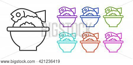 Black Line Served Fish On A Bowl Icon Isolated On White Background. Set Icons Colorful. Vector