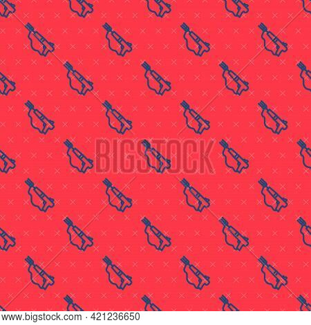 Blue Line Fishing Harpoon Icon Isolated Seamless Pattern On Red Background. Fishery Manufacturers Fo