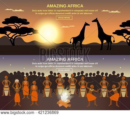 African People Horizontal Banners Set With Amazing Africa Symbols Flat Isolated Vector Illustration