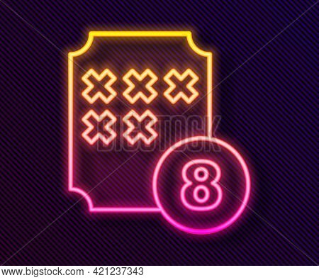 Glowing Neon Line Bingo Or Lottery Ball On Bingo Card With Lucky Numbers Icon Isolated On Black Back