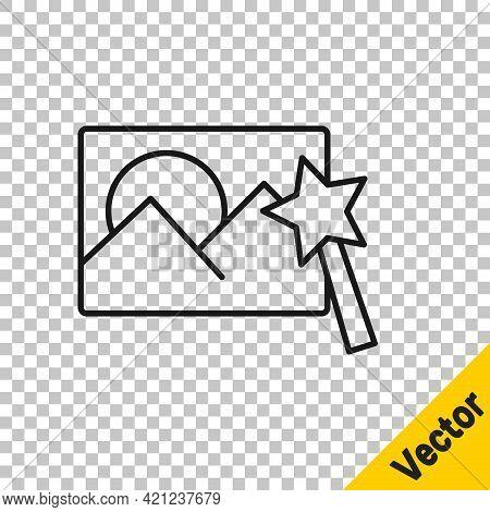 Black Line Photo Retouching Icon Isolated On Transparent Background. Photographer, Photography, Reto