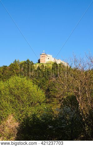 Scenic Landscape View Of Ruins Of Ancient Kremenets Castle On The Top Of The Hill. Famous Touristic
