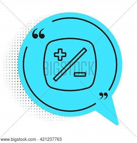 Black Line Exposure Compensation Icon Isolated On White Background. Blue Speech Bubble Symbol. Vecto