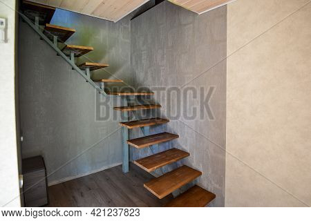 Minsk. Belarus - May 2016: View Of The Stairs, Wooden Stairs In A House. High Quality Photo