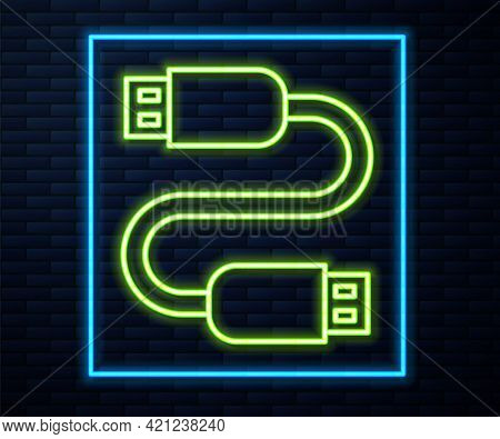 Glowing Neon Line Usb Cable Cord Icon Isolated On Brick Wall Background. Connectors And Sockets For