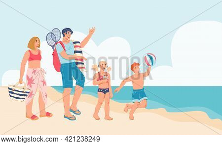 Seashore With Happy Family Of Mother, Father And Children On Summer Vacation, Flat Vector Illustrati