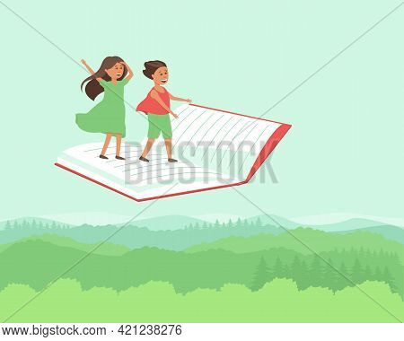 Children Travel Flying On The Book. Happy Boy And Girl Travel Through A Fairy Tale. A Fabulous Event