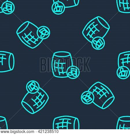 Green Line Voice Assistant Icon Isolated Seamless Pattern On Blue Background. Voice Control User Int