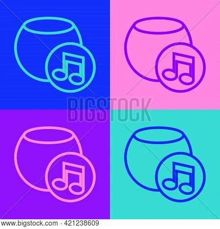 Pop Art Line Voice Assistant Icon Isolated On Color Background. Voice Control User Interface Smart S
