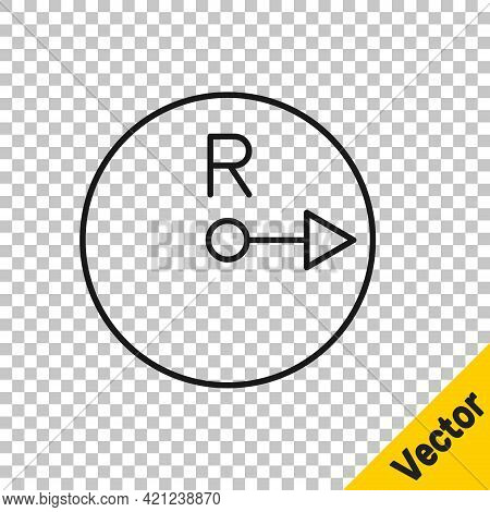 Black Line Radius Icon Isolated On Transparent Background. Vector