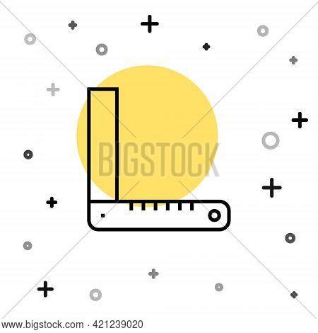 Black Line Corner Ruler Icon Isolated On White Background. Setsquare, Angle Ruler, Carpentry, Measur