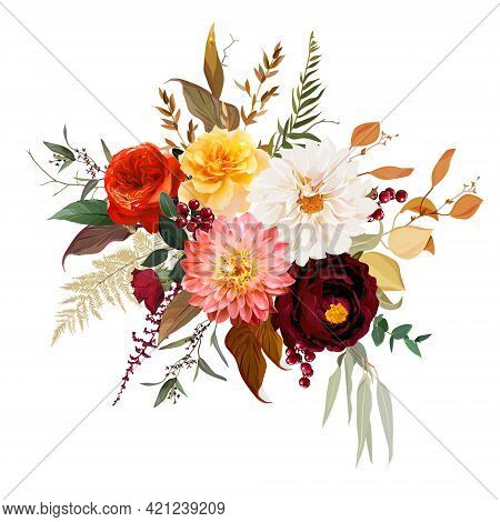 Moody Boho Chic Wedding Vector Design Bouquet