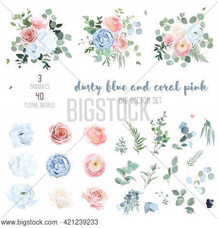 Dusty Blue, Blush Pinkand Coral Rose, White Hydrangea, Peachy Ranunculus