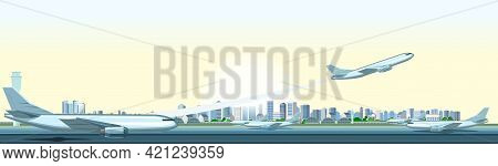 The Passenger Plane Takes Off. Airport Outside. Runway. Towers And Hangars. Against The Backdrop Of