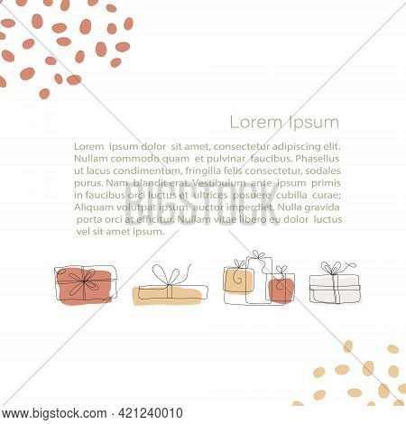 Abstract Minimalistic Vector Template. Gifts Concept, Boxes With Ribbons. Line Art Drawing With Abst