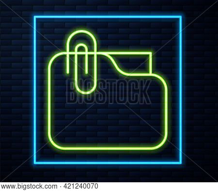 Glowing Neon Line Document Folder With Paper Clip Icon Isolated On Brick Wall Background. Accounting