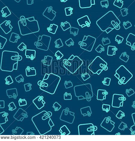 Green Line Document Folder With Paper Clip Icon Isolated Seamless Pattern On Blue Background. Accoun