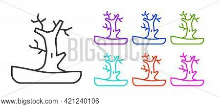 Black Line Bare Tree Icon Isolated On White Background. Set Icons Colorful. Vector