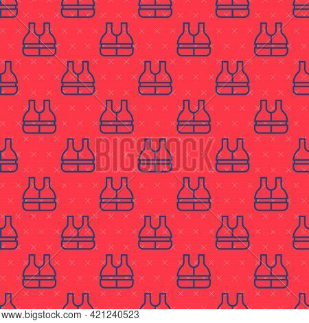 Blue Line Life Jacket Icon Isolated Seamless Pattern On Red Background. Life Vest Icon. Extreme Spor