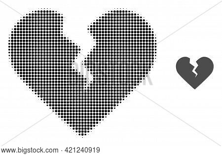 Divorce Heart Halftone Dot Icon Illustration. Halftone Array Contains Circle Points. Vector Illustra