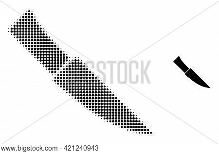 Knife Halftone Dotted Icon Illustration. Halftone Pattern Contains Round Dots. Vector Illustration O