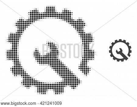 Gear Repair Halftone Dotted Icon Illustration. Halftone Pattern Contains Circle Elements. Vector Ill