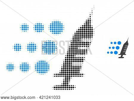Fast Vaccine Halftone Dot Icon Illustration. Halftone Pattern Contains Round Elements. Vector Illust