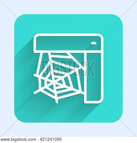 White Line Spider Web Icon Isolated With Long Shadow. Cobweb Sign. Happy Halloween Party. Green Squa