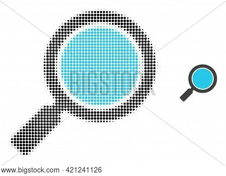 Search Loupe Halftone Dot Icon Illustration. Halftone Pattern Contains Circle Elements. Vector Illus