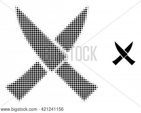 Crossing Knives Halftone Dot Icon Illustration. Halftone Pattern Contains Round Elements. Vector Ill