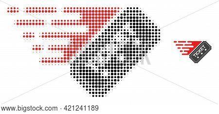Ticket Halftone Dot Icon Illustration. Halftone Pattern Contains Circle Pixels. Vector Illustration